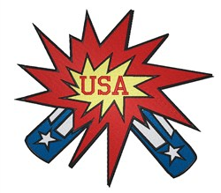 USA Rocket Splash embroidery design