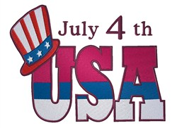 July 4th USA embroidery design