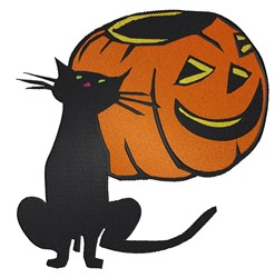 Cat And Pumpkin embroidery design