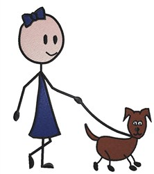 Stick Girl Dog embroidery design