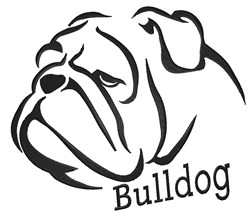 Bulldog Outline embroidery design