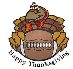 Happy Thanksgiving Football Turkey embroidery design
