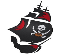 Pirate Ship Football embroidery design