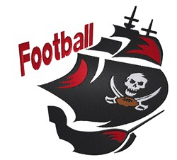 Football Pirate Ship embroidery design