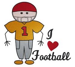 Stickboy I Love Football embroidery design