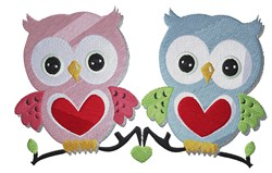 Owls Hearts embroidery design