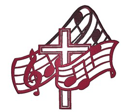 Musical Cross embroidery design