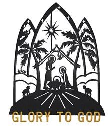Glory to God Nativity embroidery design