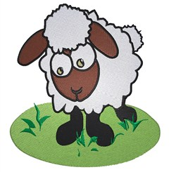 Lamb On Grass embroidery design
