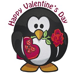 Happy Valentines Day Penguin embroidery design