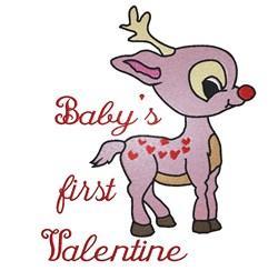Rudolph Babys First Valentine embroidery design