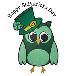 St.Patricks Day Owl embroidery design