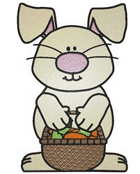 Easter Bunny With Basket embroidery design