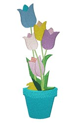 Pot Of Tulips embroidery design