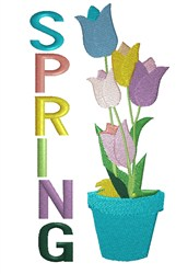 Pot Of Tulips Spring embroidery design
