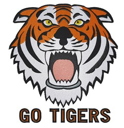 Tiger Head Go Tigers embroidery design