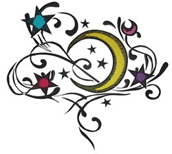 Moon And Stars Swirl embroidery design