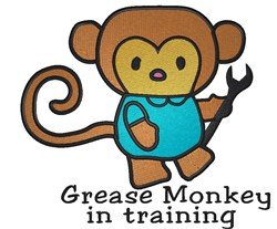 Grease Monkey In Training embroidery design