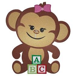 Monkey With Blocks embroidery design