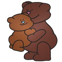 Mama Bear and Baby Bear hugging embroidery design