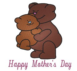 Happy Mothers Day Hug embroidery design