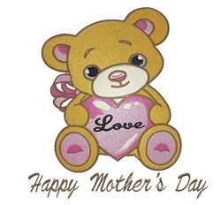 Mothers Day Teddy embroidery design