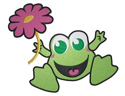 Party Frog With flower embroidery design