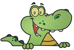 Peeking Alligator embroidery design