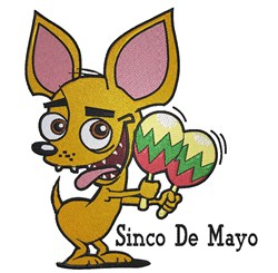 Cinco De Mayo Dog embroidery design