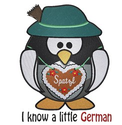 German Owl I know embroidery design