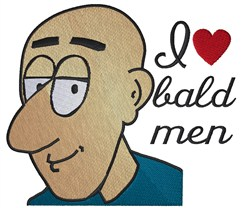 I Love Bald Men embroidery design