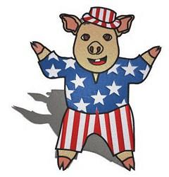 Patriotic Pig embroidery design