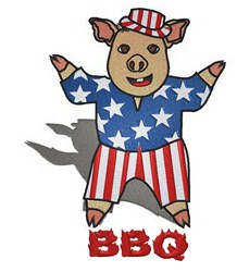 Patriotic Pig BBQ embroidery design