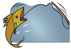 Fish On A Hook embroidery design