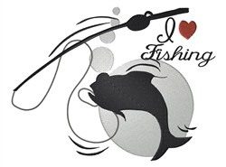Fishing Silhouette embroidery design