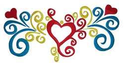 Colorful Heart Swirl embroidery design