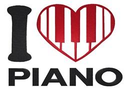 I Love Piano embroidery design