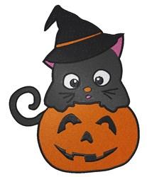 Cat on Pumpkin embroidery design
