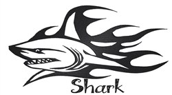 Flaming Shark embroidery design