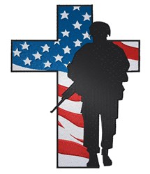 Soldier Patriotic Cross embroidery design