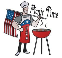 Picnic Time BBQ Chef embroidery design