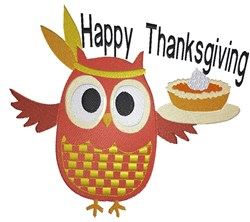 Owl  Happy Thanksgiving embroidery design