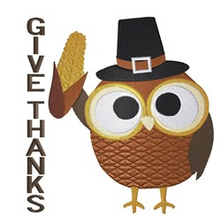 Pilgrim Owl  Give Thanks embroidery design