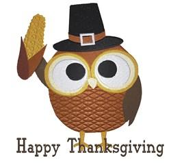 Pilgrim Owl Happy Thanksgiving embroidery design