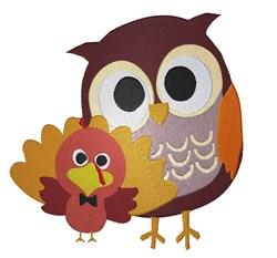 Fall Owl & Turkey embroidery design
