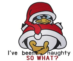 Naughty Christmas Penguin embroidery design