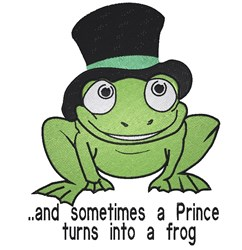 Frog with Tophat embroidery design