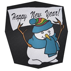 Happy New Year Snowman embroidery design
