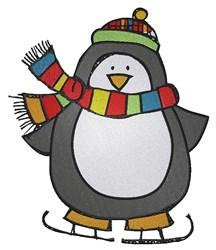 Penguin On Ice Skates embroidery design