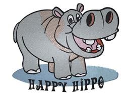 Happy Hippo embroidery design